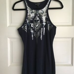 Express: Navy dress with silver details